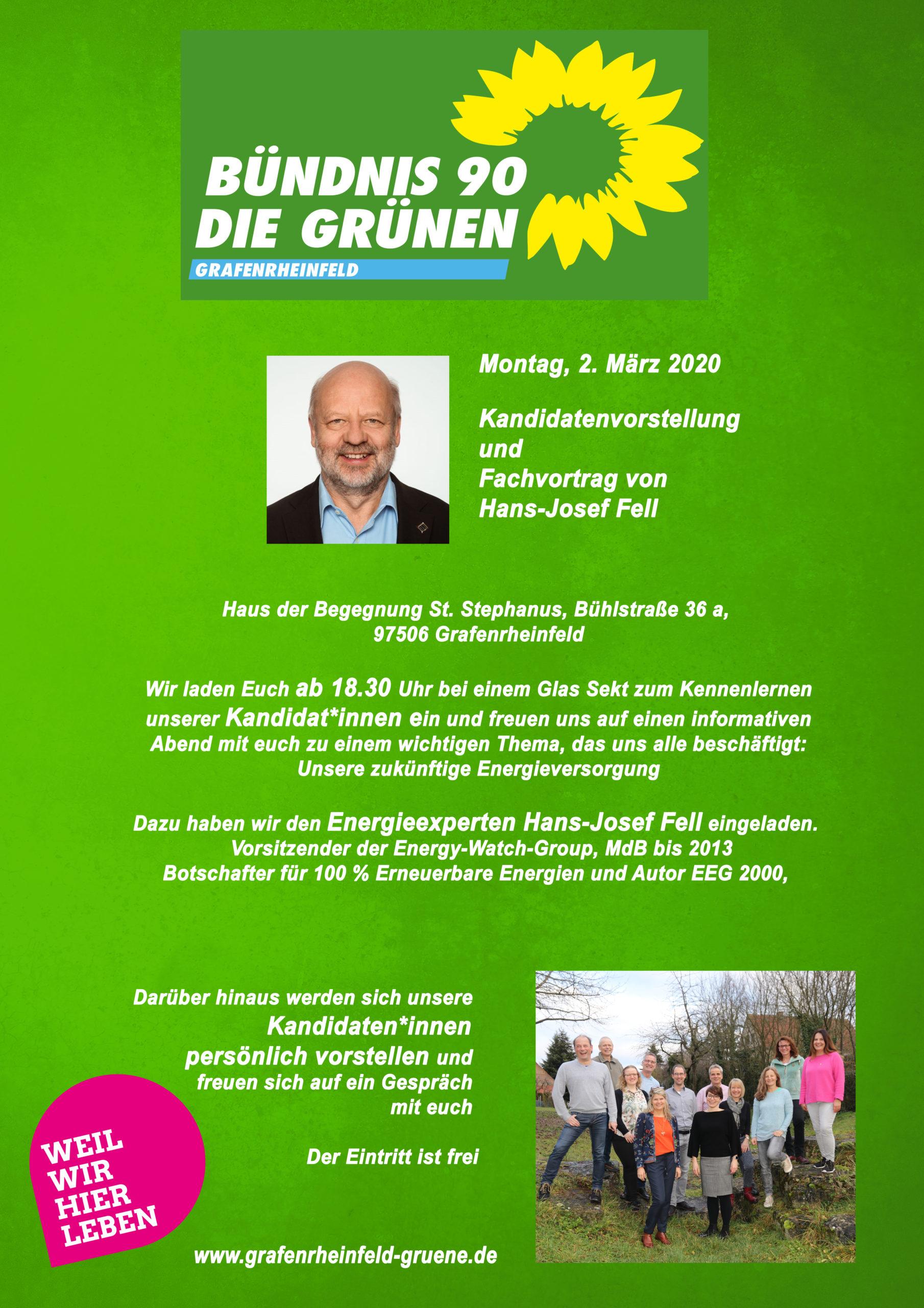 Flyer Kandidatenvorstellung und Fachvortrag von Hans-Josef Fell